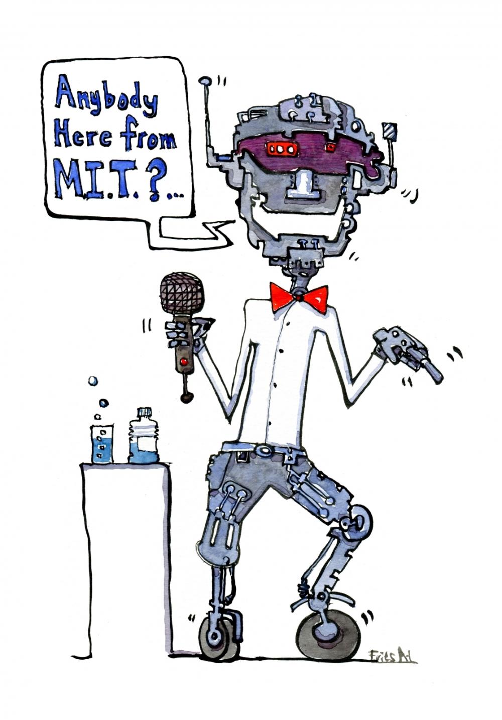 Droid robot, making a stand up joke