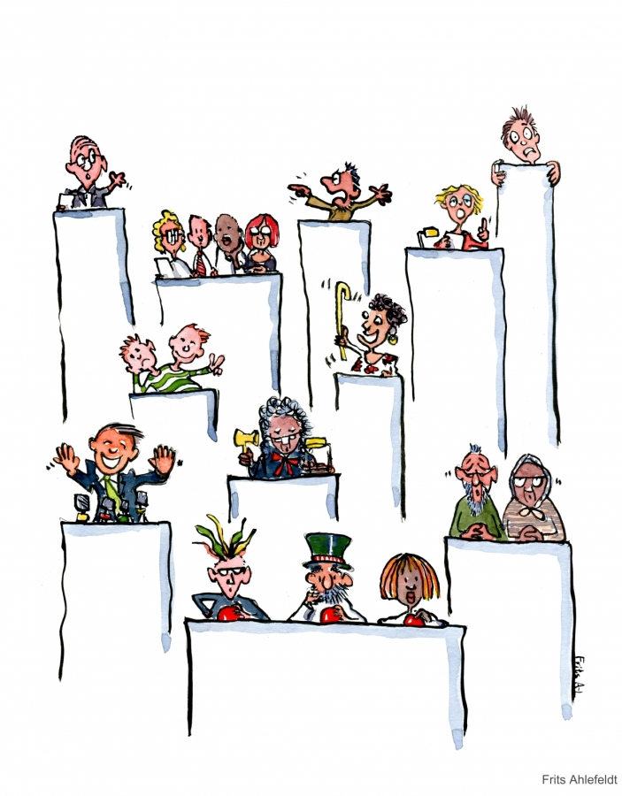 Drawing of a lot of juries, experts and speakers all making themselves heard