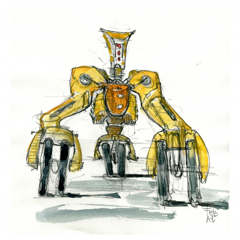 pencil sketch, three wheel robot