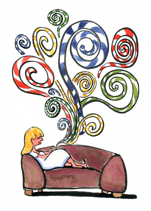 Girl in a sofa with her phone
