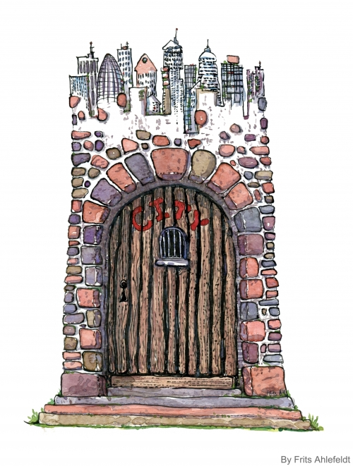 Drawing of a town behind a gated wall