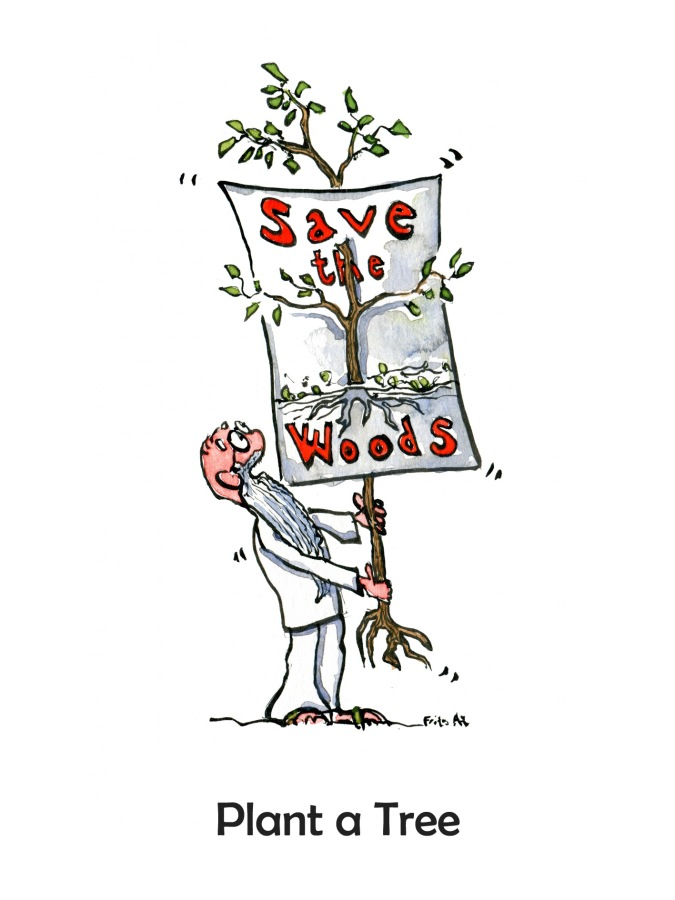Old man holding a young tree with a poster with the text Save the Woods