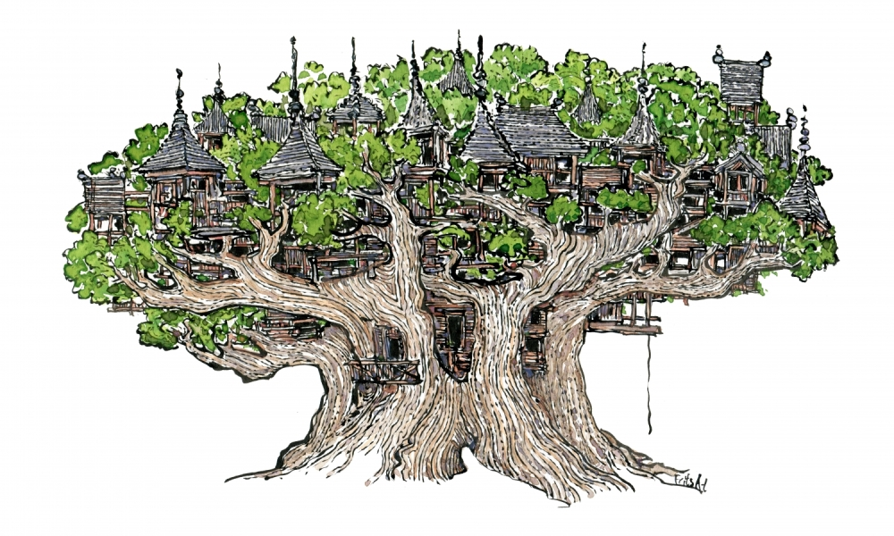 Drawing of a tree house of wood