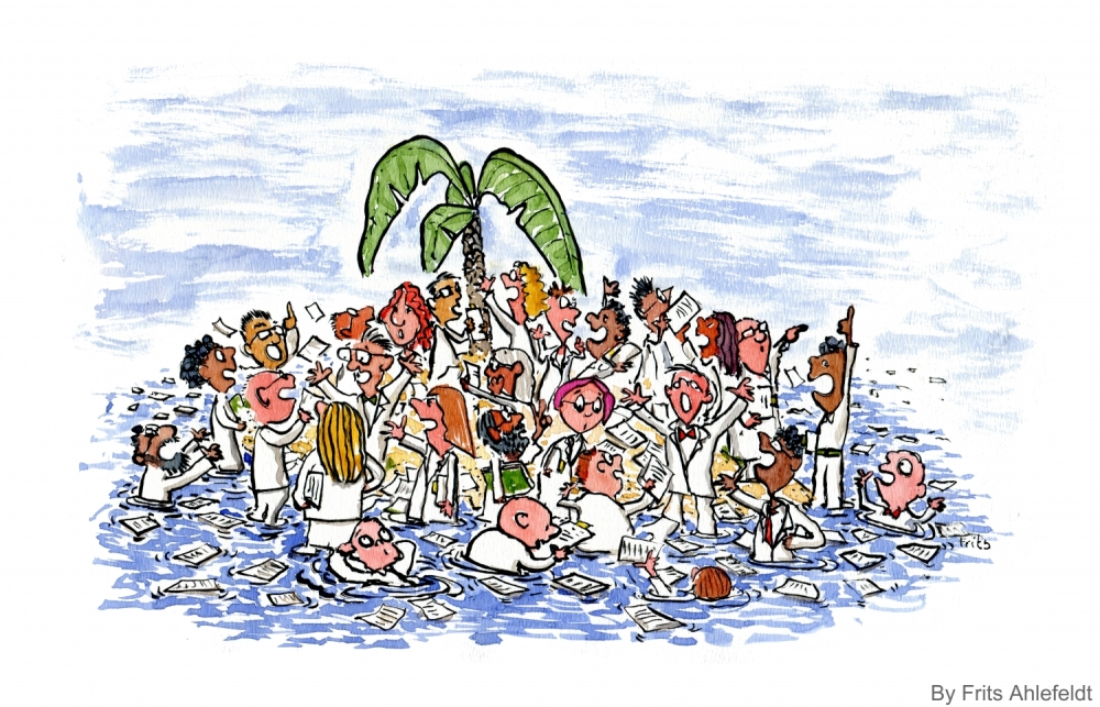 Drawing of experts alone on an island, discussion reality and climate change