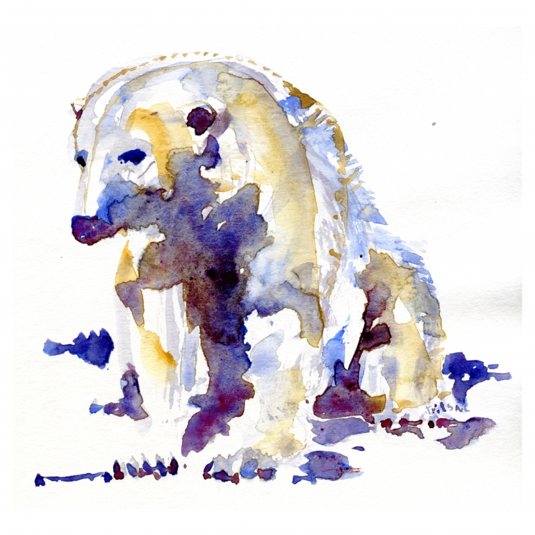Ice bear sitting, watercolor study by Frits Ahlefeldt