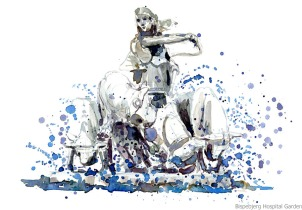 Watercolor of a fountain existing