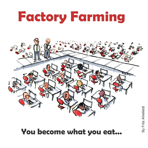 Factory farm illustration (CreativeCommons Lincense By-NC-ND)