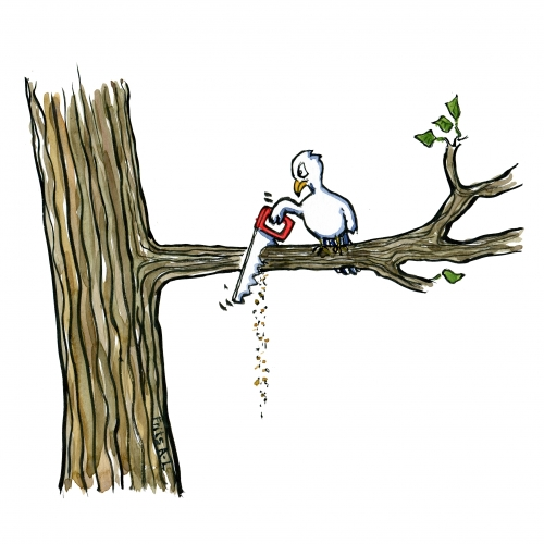 illustration of a bird sitting in a tree sawing of the branch it is sitting on