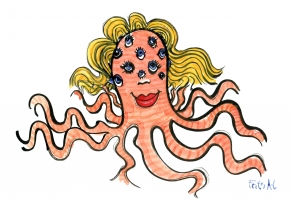 Drawing of an woman octopus with many blue eyes