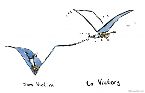 drawing of a girl falling into a V formed hole, flying away on a V formed kite in the next image