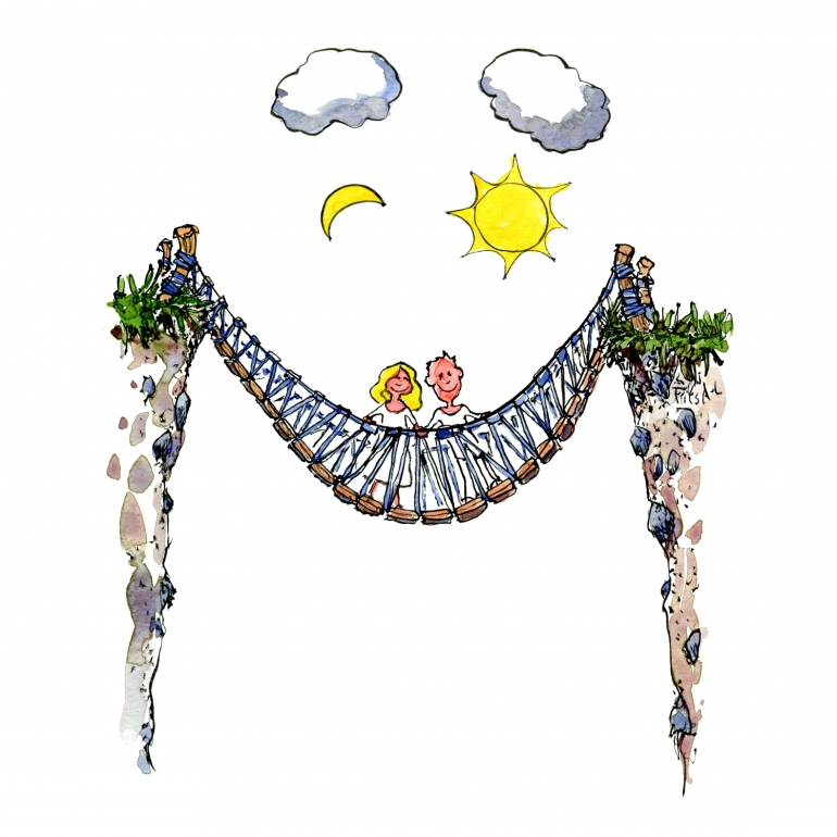Drawing of a happy, smiling bridge with two people on it