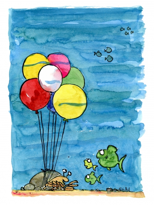 drawing of a crab selling balloons at the button of the sea