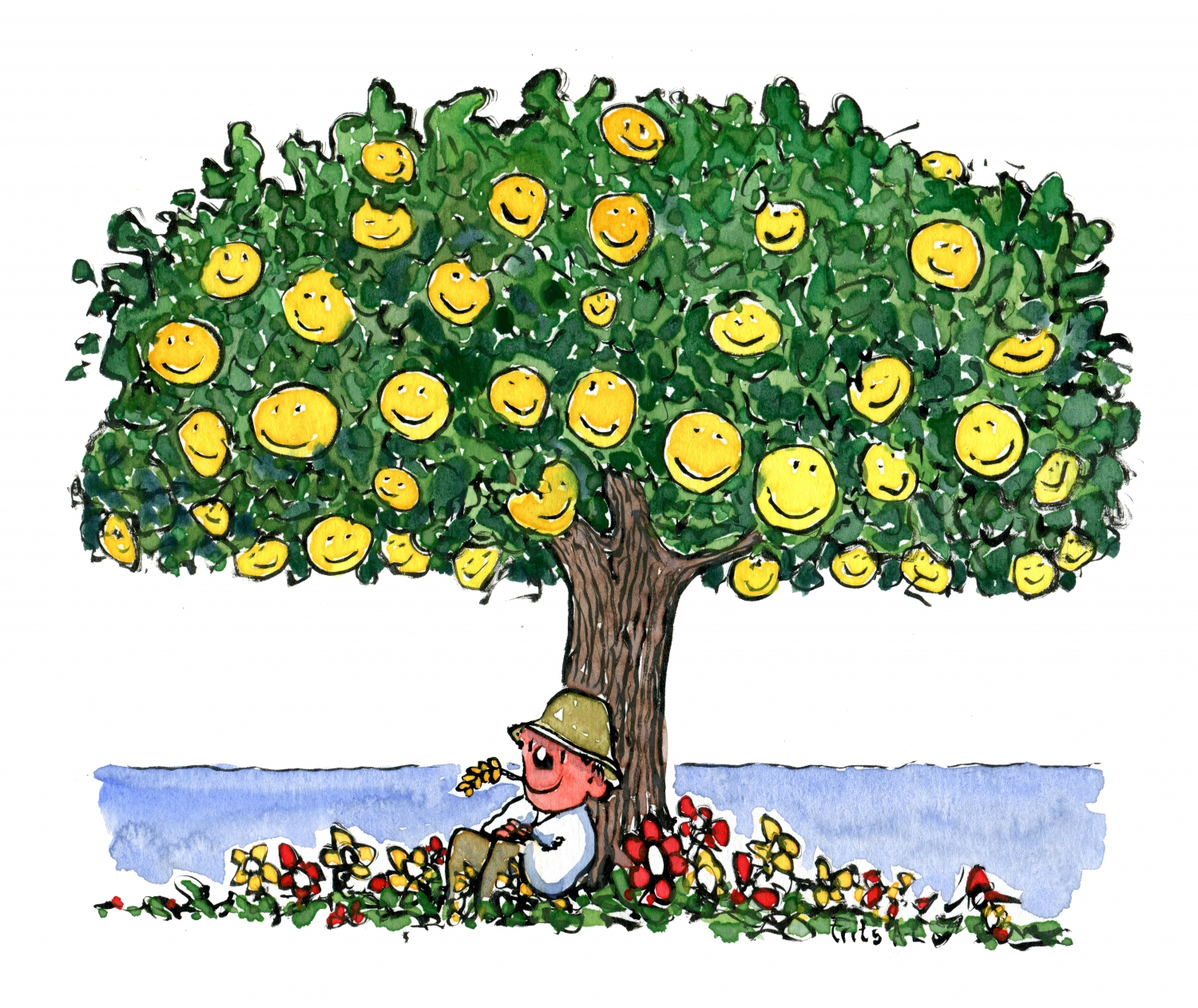 man under smiley tree illustration by frits ahlefeldt new years clip art 2019 new years clipart backgrounds