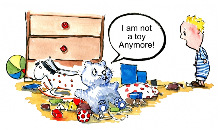 drawing of a toy saying I am not a toy anymore