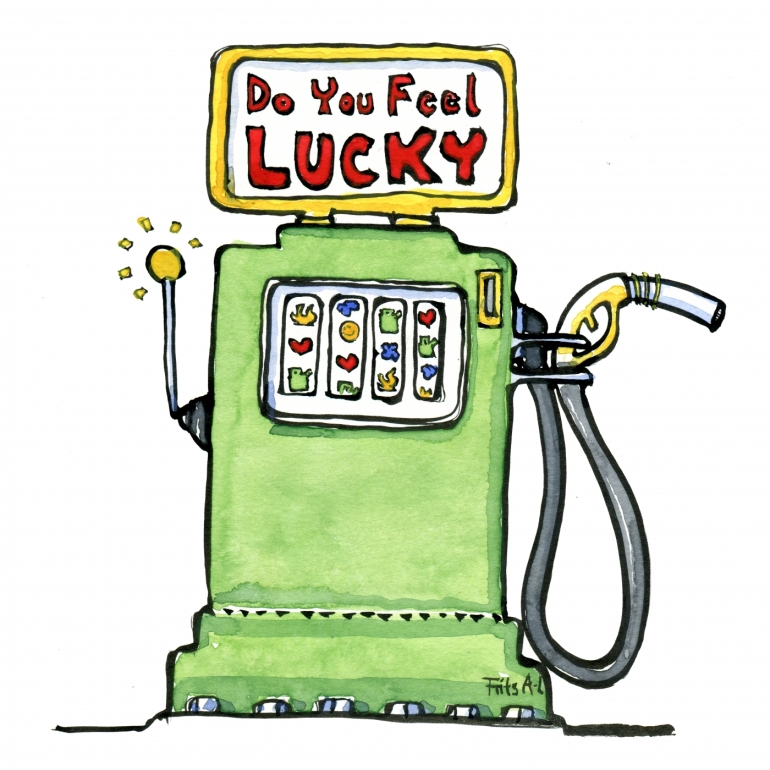 Drawing of a slotmachine - and gas pump combined