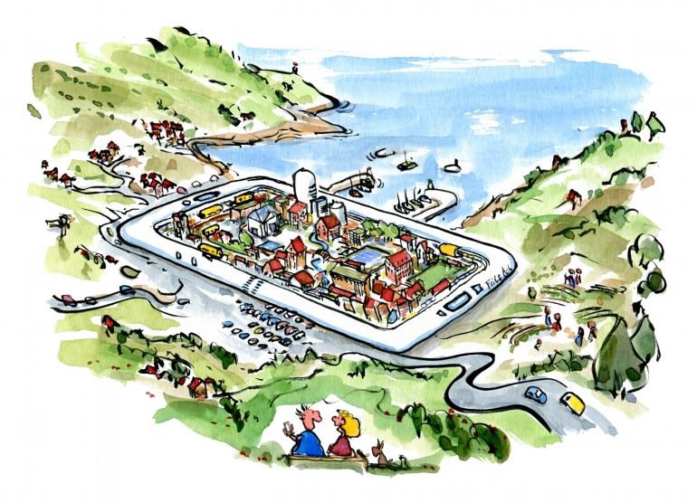 Drawing of a small village gigantic mobile phone