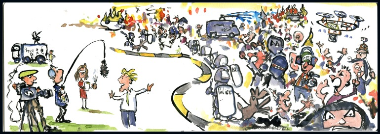 Drawing of news reporters and the world changing