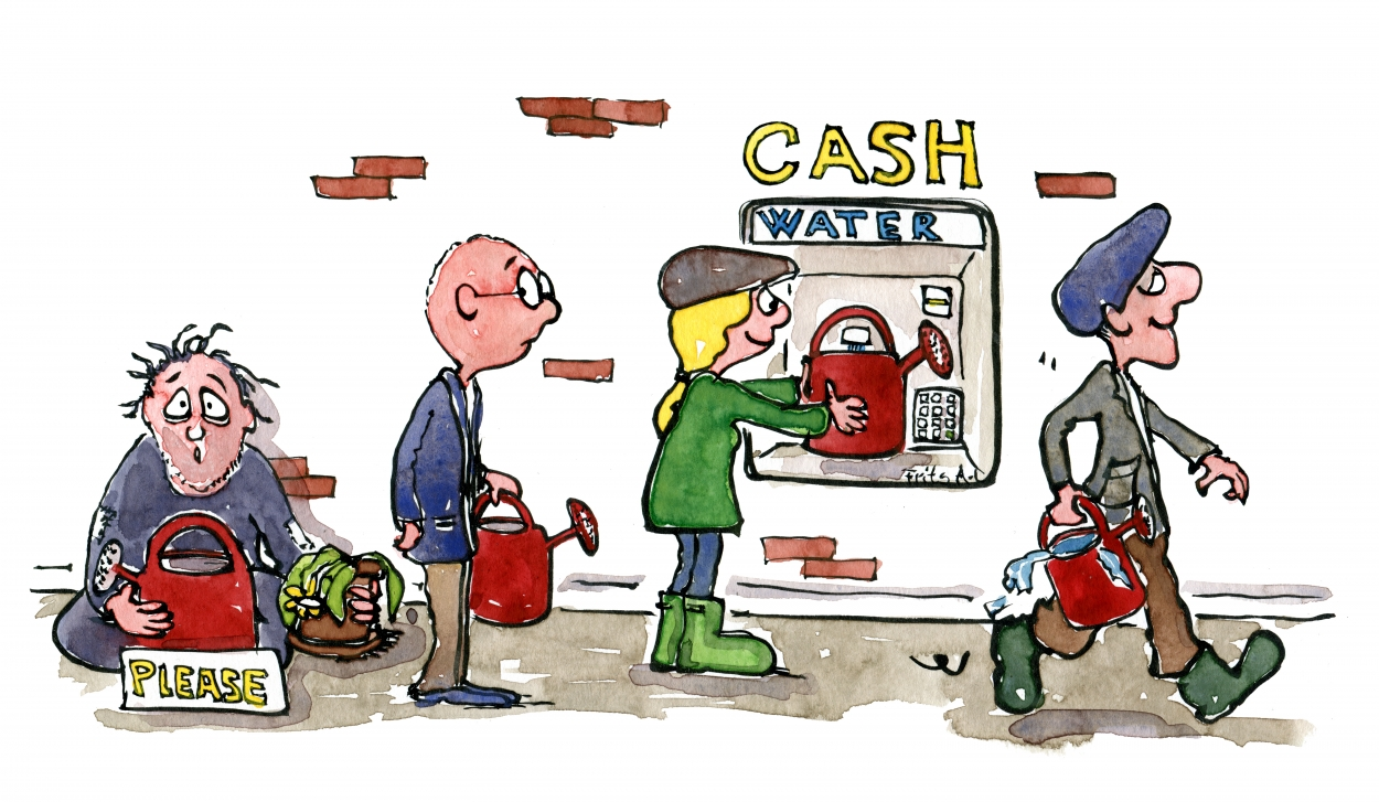 If money was water Drawing of people using a water-cash machine to get water
