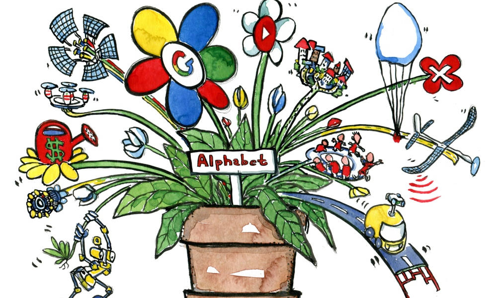 Google Alphabet companies and projects drawing by Frits Ahlefeldt