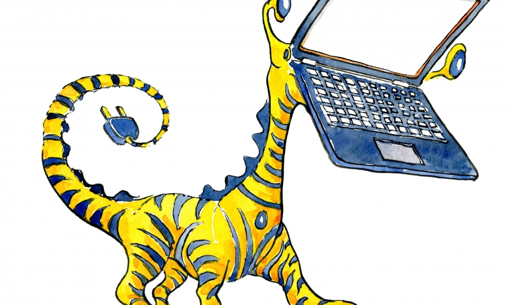drawing of a laptop tiger