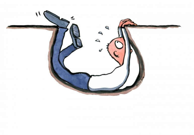 drawing of a guy falling into a gap