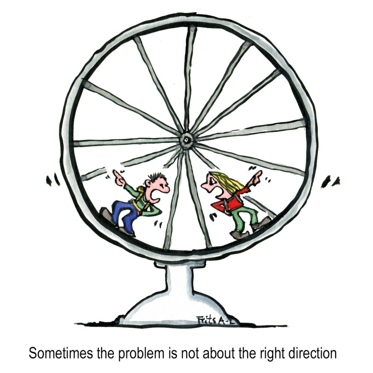 Two people in a hamster wheel discussing