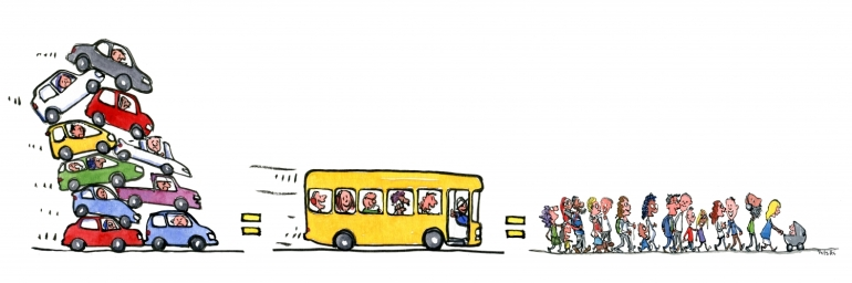 cars vs buses vs walking illustration
