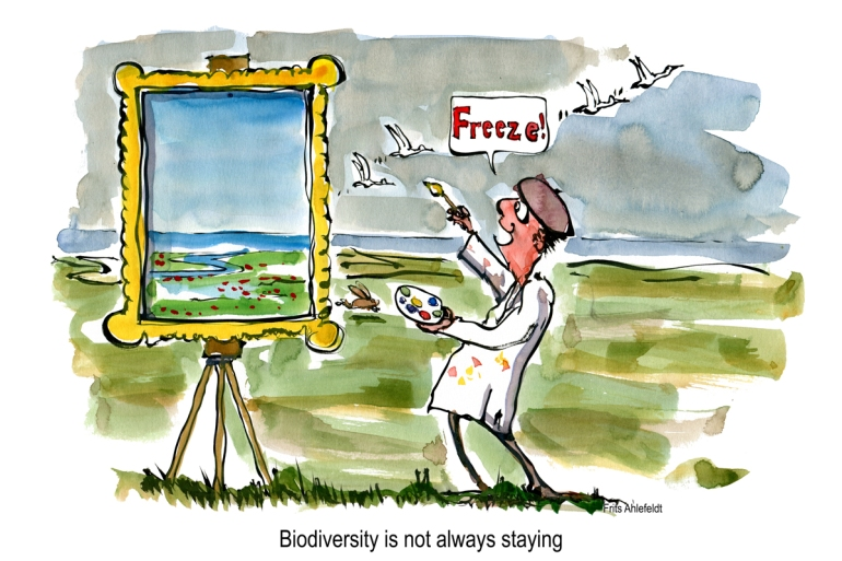 Artist saying freeze to flying birds in a landscape painting