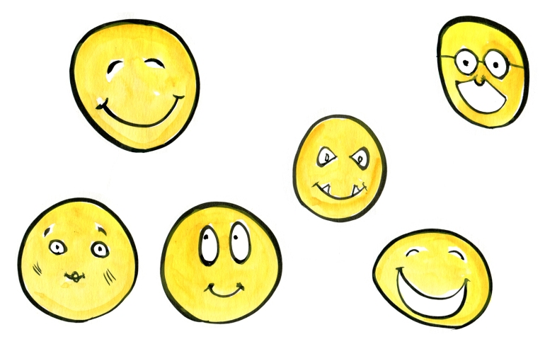 Drawing of collection of emoticons