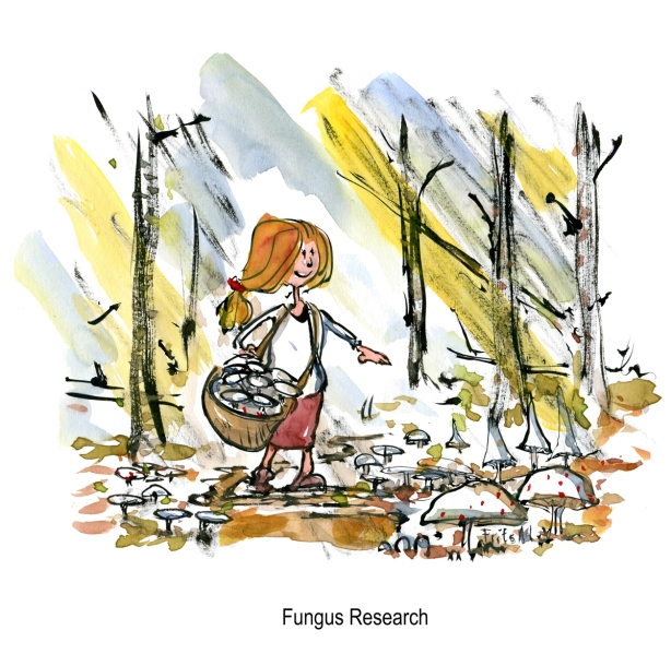 Drawing of a girl in the forest - researching mushrooms
