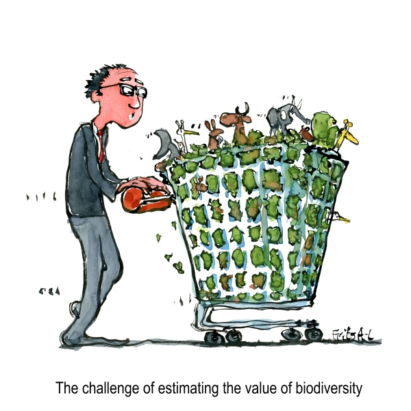 Drawing of a shopping trolley with nature, wildlife and biodiversity