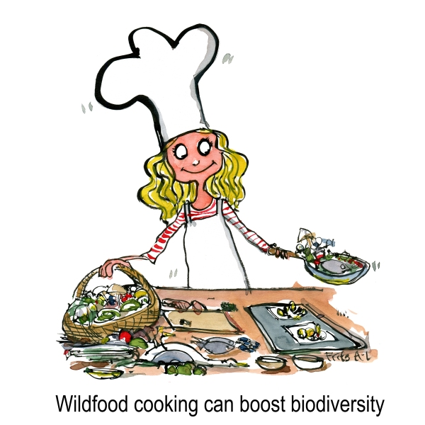 Wildlife cooking girl in kitchen making food