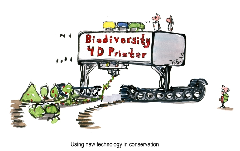 Drawing of a 3D printer, printing out nature and biodiversity