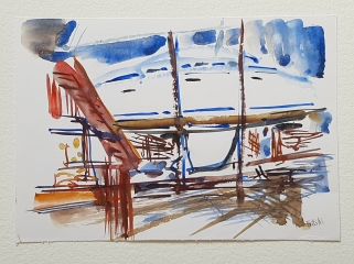 Watercolor sketch from a harbor