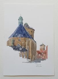 Round tower - runde taarn Copenhagen Original watercolor