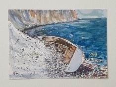 Coastal trail - stranded boat, Stevns klint