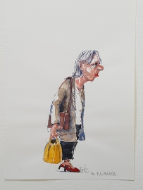 Old lady with yellow back walking - street sketch in watercolor