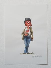 Woman with helmet watercolor sketch copenhagen