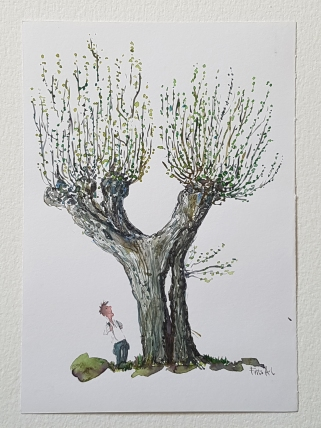 Tree watercolor with hiker