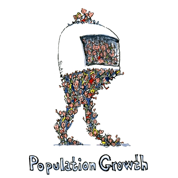 Global population growth Illustration of global drivers of change, by Frits Ahlefeldt