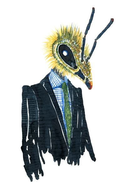 Watercolor of a bee dressed in a suit, artwork by Frits Ahlefeldt