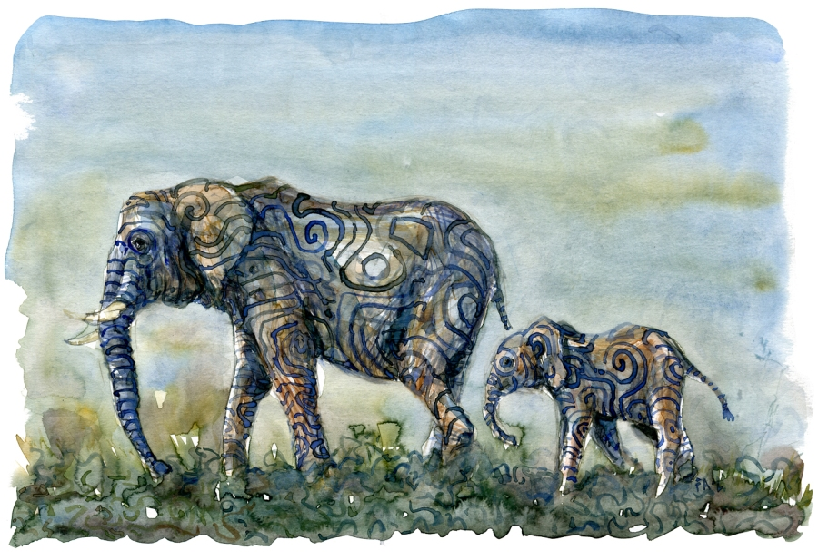 Watercolor of two elephants with stripes, in landscape