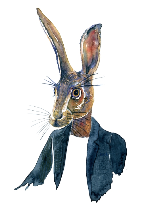 Hare in a suit Watercolor by Frits Ahlefeldt