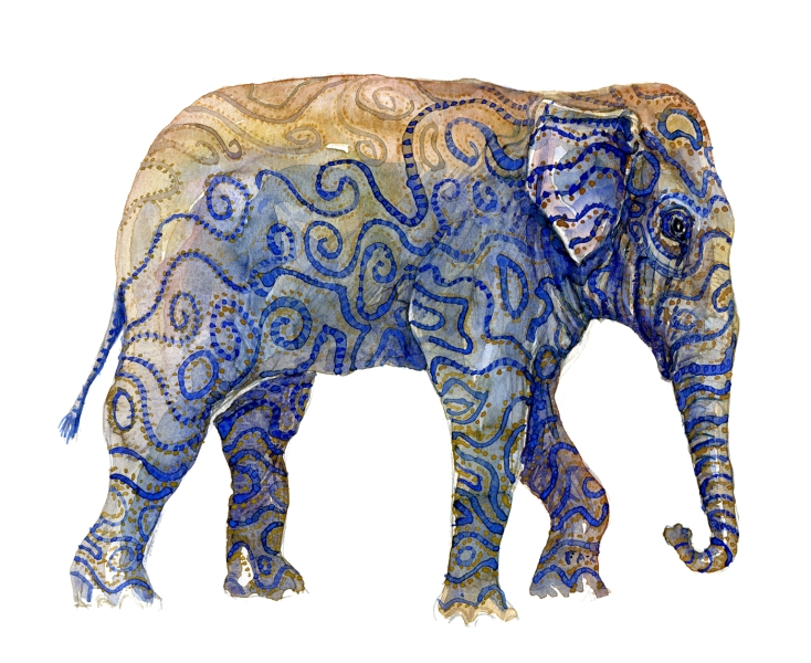 Watercolor by Frits Ahlefeldt, Indian elephant with stripes