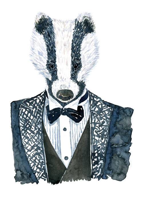 Badger in a tuxedo suit Watercolour illustration by Frits Ahlefeldt