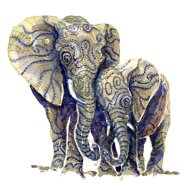 Watercolor painting of two elephants, grown up and young, standing close together