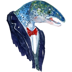 Salmon in clothing watercolor painting by Frits Ahlefeldt