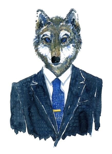 Wolf Man with blue eyes, artwork by Frits Ahlefeldt