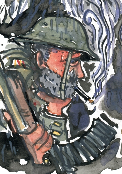 Illustration of a tired looking soldier with a cigarette