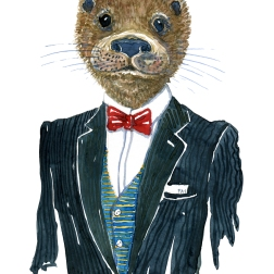 Otter in clothing watercolor painting by Frits Ahlefeldt